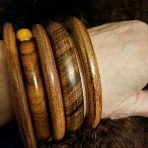 Vintage wooden bangles bracelets